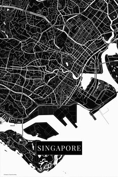 Karta över Singapore black
