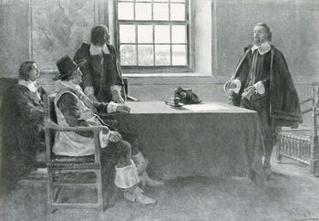 Konsttryck Sir William Berkeley Surrendering to the Commissioners of the Commonwealth, illustration from 'In Washington's Day' by Woodrow Wilson, pub. in Harper's Magazine, 1896