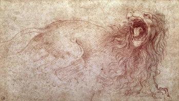 Konsttryck Sketch of a roaring lion