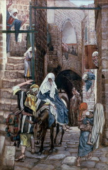Konsttryck St. Joseph Seeks Lodging in Bethlehem, illustration for 'The Life of Christ', c.1886-94