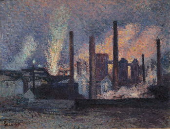 Konsttryck Study for Factories near Charleroi, 1897