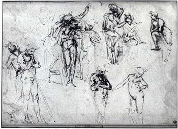 Konsttryck Study of nude men