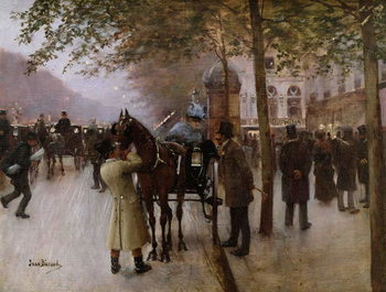 Konsttryck The Boulevards, Evening in Front of the Cafe Napolitain, late 19th century