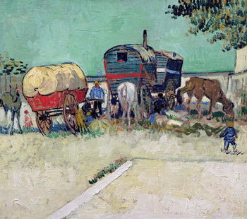 Konsttryck The Caravans, Gypsy Encampment near Arles, 1888