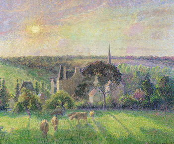 Konsttryck The Church and Farm of Eragny, 1895