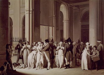 Konsttryck The Galleries of the Palais Royal, Paris, 1809