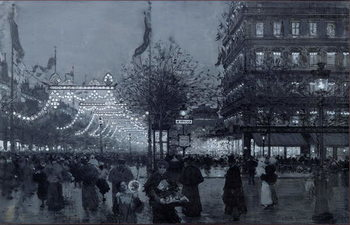 Konsttryck The Grands Boulevards, Paris, decorated for the Celebration of the Franco-Russian Alliance in October 1893