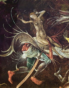 Konsttryck The Last Judgement, detail of a Woman being Carried Along by a Demon, c.1504