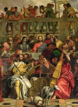 Konsttryck The Marriage Feast at Cana, detail of Christ and musicians, c.1562