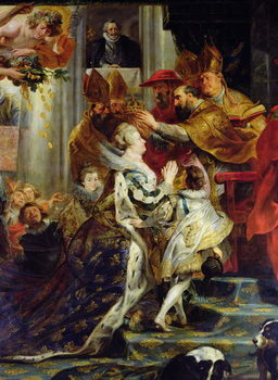 Konsttryck The Medici Cycle: The Coronation of Marie de Medici (1573-1642) at St. Denis, 13th May 1610, detail of the crowning, 1621-25