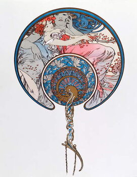 Konsttryck The Passing Wind Wars Youth Lithography by Alphonse Mucha  1899 - Dim 45,5x 62 cm Private collection