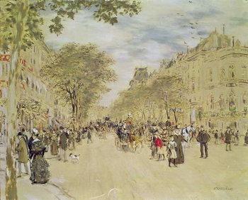 Konsttryck The Pavillon de Hanovre and the Boulevard des Italiens, Paris, after 1870