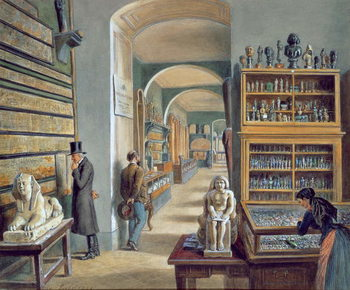Konsttryck The second room of Egyptian antiquities in the Ambraser Gallery of the Lower Belvedere, 1879