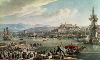 Konsttryck The town and harbour of Trieste seen from the New Mole, published in 1802