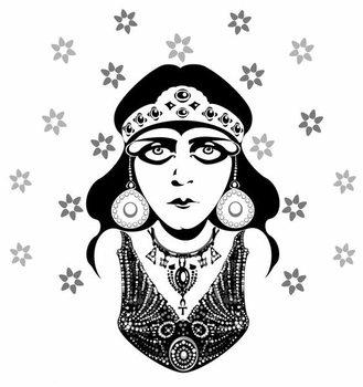 Konsttryck Theda Bara, American silent film actress, 1890-1955