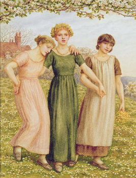 Konsttryck Three Young Girls, 19th century