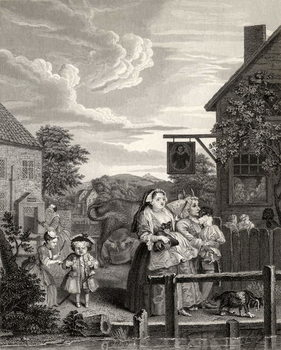 Konsttryck Times of the Day: Evening, from 'The Works of William Hogarth', published 1833