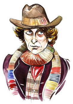 Konsttryck Tom Baker as Doctor Who in BBC television series of same name