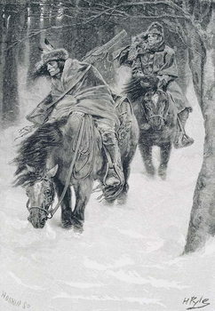 Konsttryck Travelling in Frontier Days, illustration from 'The City of Cleveland' by Edmund Kirke, pub. in Harper's Magazine, 1886