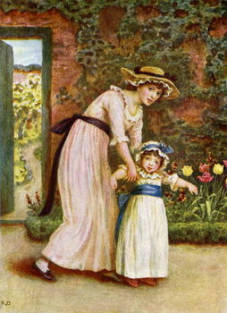 Konsttryck 'Two girls in a garden',  by Kate Greenaway