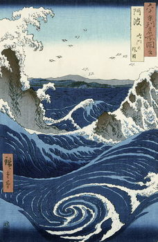 Konsttryck View of the Naruto whirlpools at Awa, from the series 'Rokuju-yoshu Meisho zue' (Famous Places of the 60 and Other Provinces)