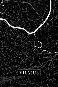 Karta över Vilnius black