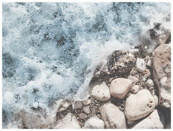 Illustration wave rocks sand