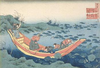 Konsttryck Women gathering waterlilies' ('Bunya no Asayasu'), from the series '100 Poems Explained by the Nurse' ('Hyakunin isshu uba ga etoki') pub. c.1835-38