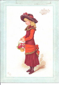 Konsttryck A Victorian greeting card of a child dressed in regency clothes, c.1880