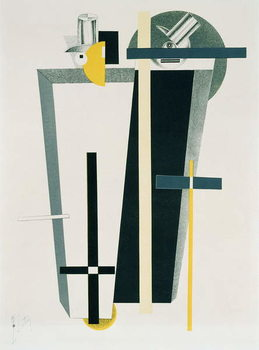 Konsttryck Abstract composition in grey, yellow and black