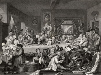 Konsttryck  An Election Entertainment, engraved by T.E. Nicholson, from 'The Works of William Hogarth', published 1833