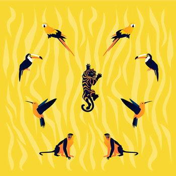 Konsttryck animals-yellow-black