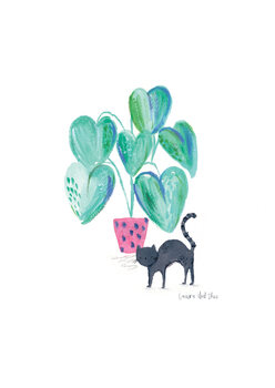 Illustration Black cat and plant