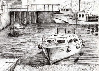 Konsttryck Boats at Islay Scotland, 2005,