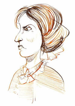 Konsttryck Charlotte Bronte - English novelist and poet ; caricature in profile