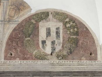 Konsttryck Coat of arms, detail of The Last Supper or Cenacolo, 1495-97 (tempera and oil on plaster)