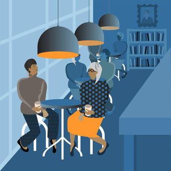 Konsttryck Coffee Shop Meeting