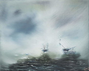 Konsttryck Discovery Clearing in sea mist Scott en route to Antarctica January 1902. 2014,