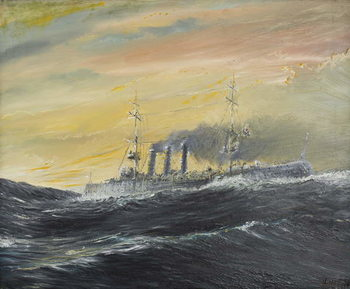 Konsttryck  Emden rides waves of the Indian Ocean 1914, 2011,