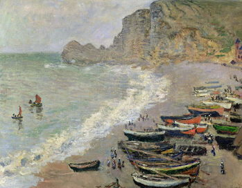 Konsttryck  Etretat, beach and the Porte d'Amont, 1883