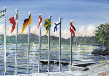 Konsttryck Flags on Lac Leman, 2010,