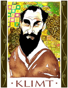 Konsttryck Gustav Klimt - colour caricature