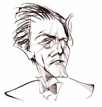 Konsttryck Gustav Mahler, Austrian composer , sepia line caricature, 2006 by Neale Osborne
