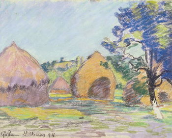 Konsttryck  Haystacks at Saint-Cheron