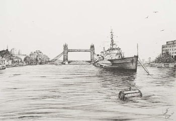 Konsttryck HMS Belfast on the river Thames London, 2006,