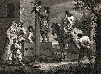 Konsttryck  Hudibras leading Crowdero in Triumph, from 'Hudibras' by Samuel Butler (1612-80) engraved by J. Romney, from 'The Works of William Hogarth', published 1833
