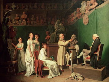 Konsttryck Jean Antoine Houdon (1741-1828) Sculpting the Bust of Pierre Simon (1749-1827) Marquis de Laplace in the Presence of his Wife and Daughters, 1804
