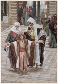 Konsttryck  Jesus Found in the Temple, illustration for 'The Life of Christ', c.1886-94