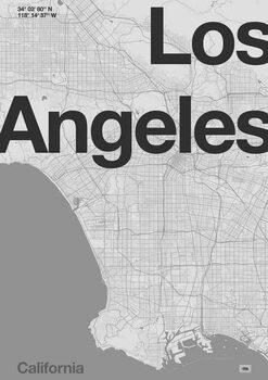 Konsttryck Los Angeles Minimal Map