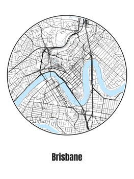 Illustration Map of Brisbane